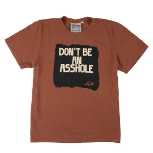 "burnt orange jungmaven t-shirt with the ""don't be an asshole"" logo"