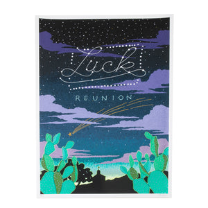 nighttime desert scene poster for luck reunion