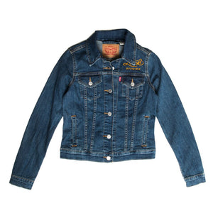 womens levis jacket with gold embroidered luck logo