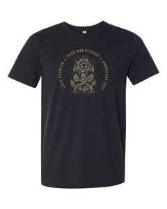 black tshirt with gold luck mansion design of two flowers wrapping together