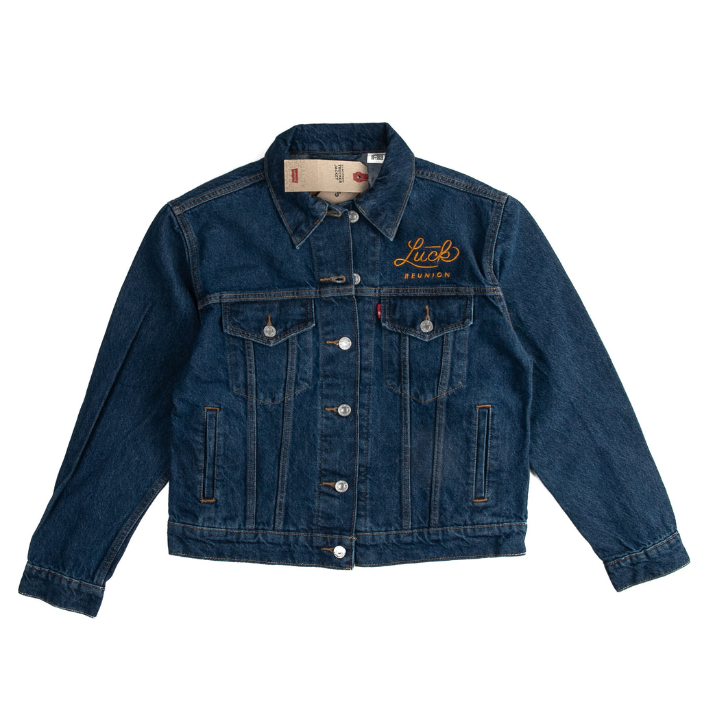 womens levi's jacket with gold embroidered luck reunion logo