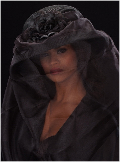 long veil funeral dress hat for women