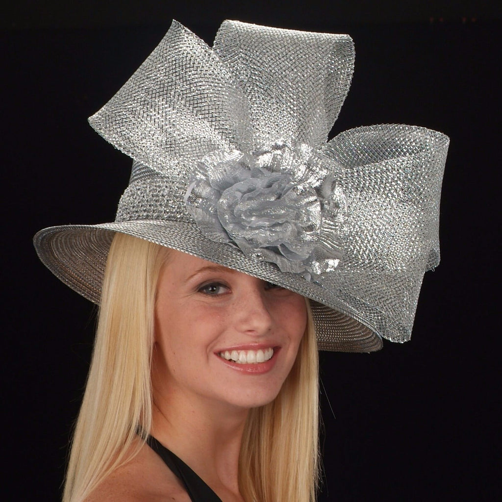 silver grey ladies church hat