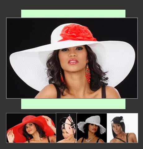 red ladies wide brim, fascinators, white church hats