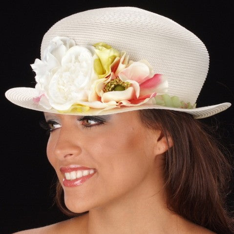 SE7009-Flower hat for ladies in cream straw - SHENOR COLLECTIONS