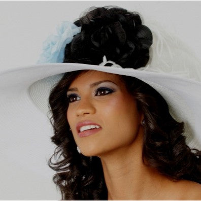 Extra wide brim kentucky derby style hat with light blue/blacks flowers and