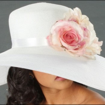 SE6017-White wide brim kentucky derby hat with large light pink yellow and cream roses