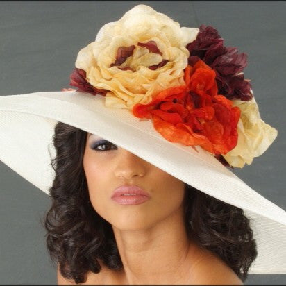 Elegant ladies cream dress hat straw with large flowers