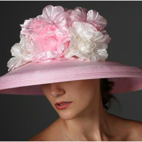 SE6014-Light Pink/Cream dress hat With Large Pink/Cream Flower