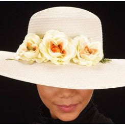 SE7006- Cream straw hat for women with small flowers
