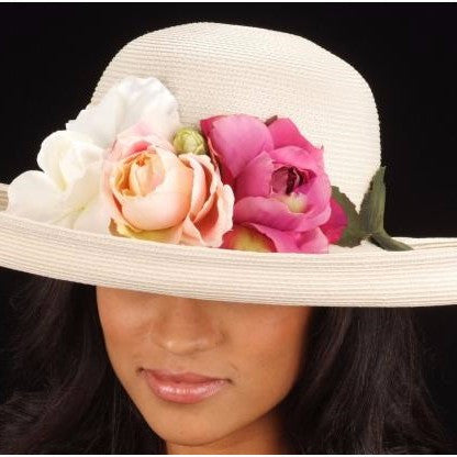SE7005- Summer women straw hat With Assorted Flowers