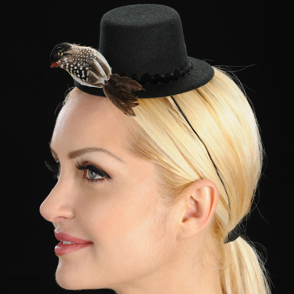 FW1112-Felt top hat with tiny bird - SHENOR COLLECTIONS