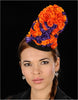NA1037-Black straw with purple and orange flowers - SHENOR COLLECTIONS