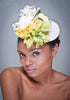 SE6020-Wedding fascinator straw with assorted flowers - SHENOR COLLECTIONS