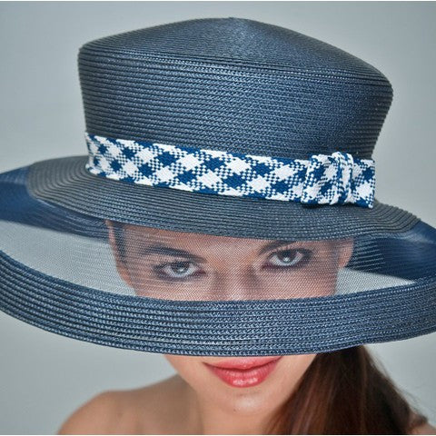NA1034-Navy Blue and white straw