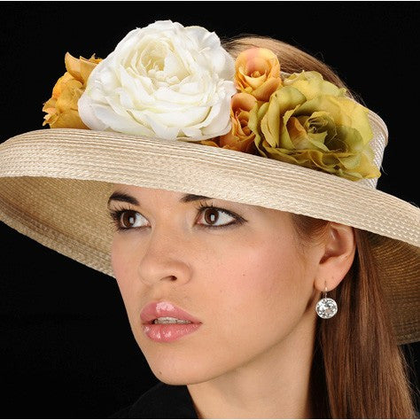 SE7013-Designer Open top ladies dress hat with assorted flowers - SHENOR COLLECTIONS