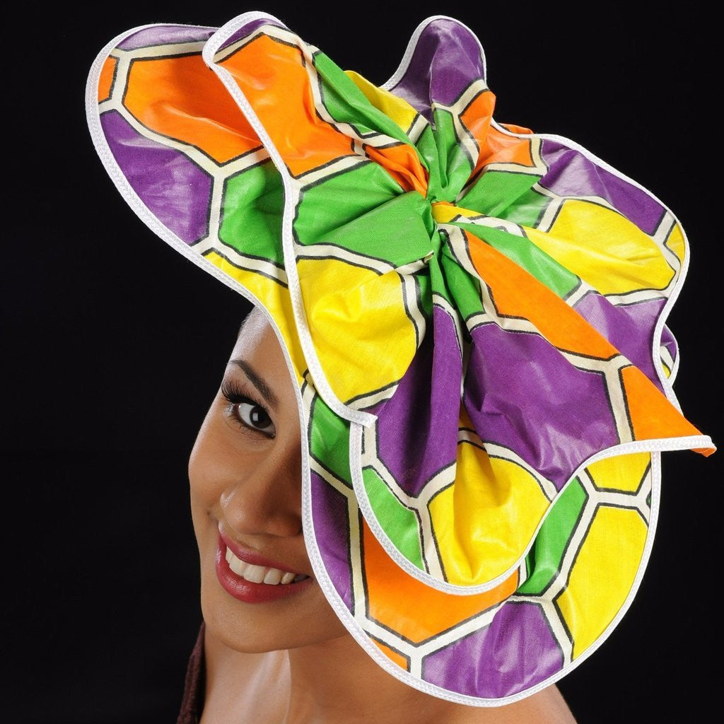 F6025 African print hat fascinator - SHENOR COLLECTIONS
