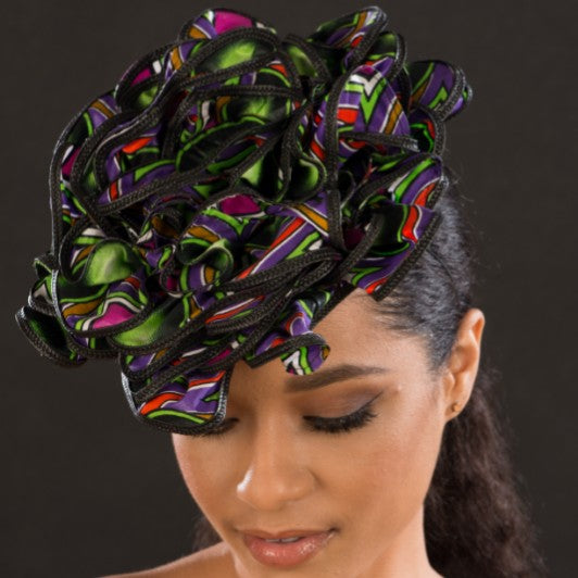 F6031-Ladies african print fascinator - SHENOR COLLECTIONS