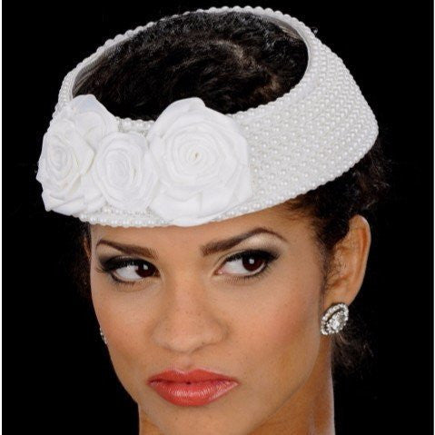 NA1006-Pearl covered straw fascinator with satin custom made flowers - SHENOR COLLECTIONS