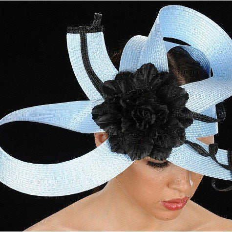 NA1019-Baby blue/black straw with large flower. - SHENOR COLLECTIONS