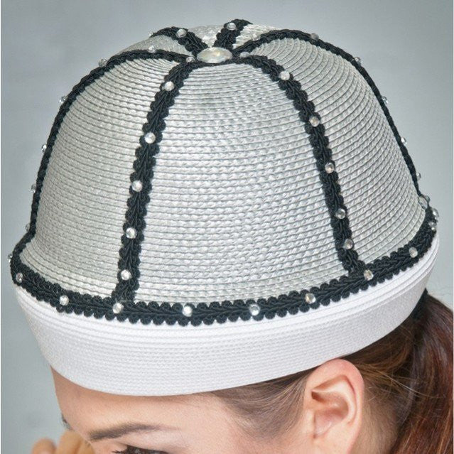 BW9017-White/grey fashion straw with black trims and rhinestones.
