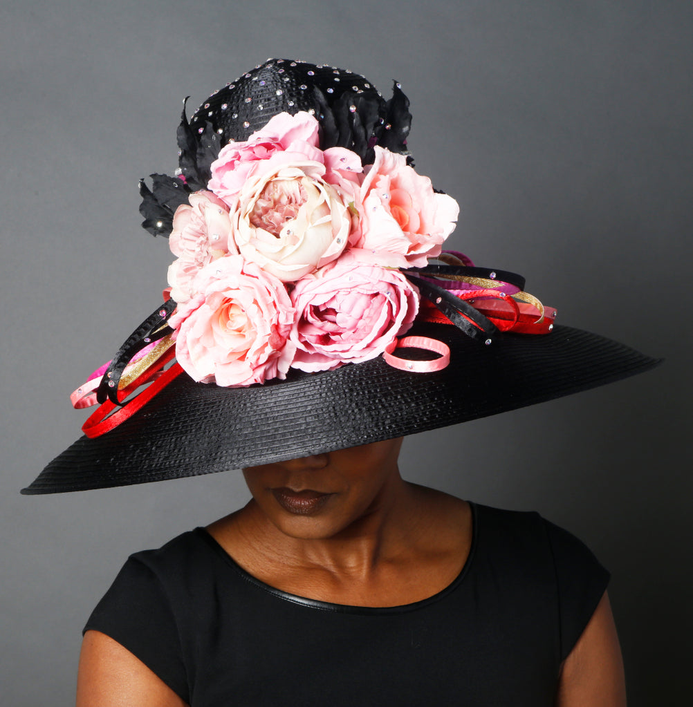 OE0024- Black satin with pink flowers dress hat
