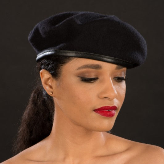 BW9042-Black beret hats for women - SHENOR COLLECTIONS
