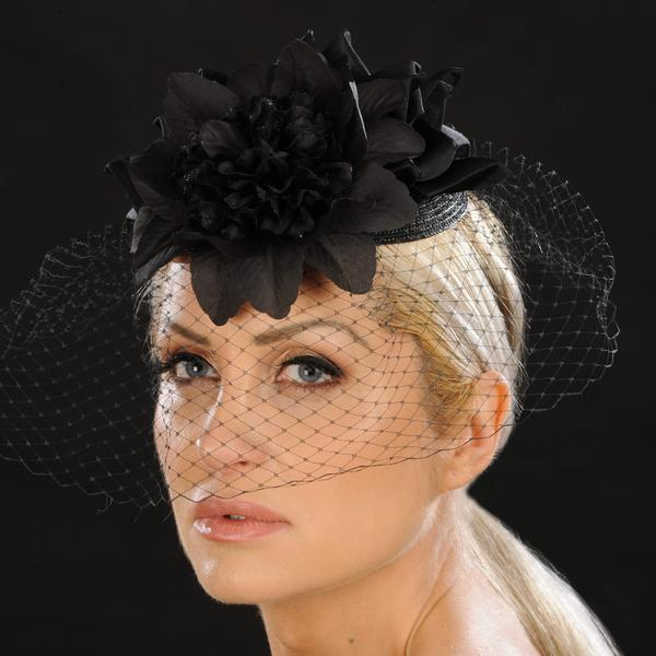 HR2903- Mesh over face Funeral fascinator for women.Please call for rental price - SHENOR COLLECTIONS