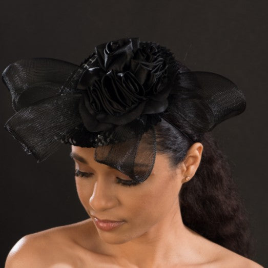 F6033-Women's black fascinaor with satin flower - SHENOR COLLECTIONS