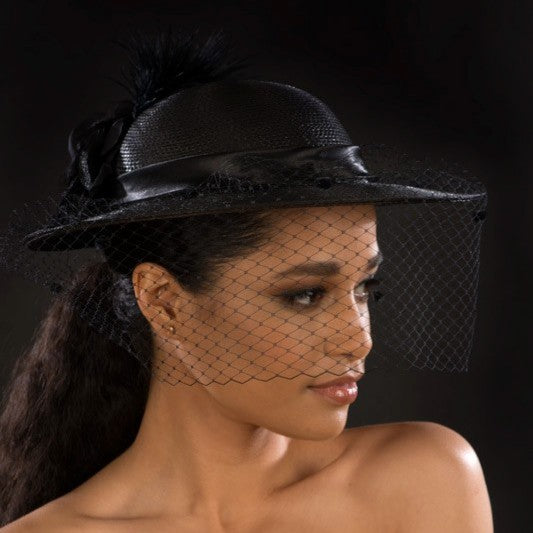 NA1059- Ladies funeral mesh veil dress hat in black with feathers and flower - SHENOR COLLECTIONS