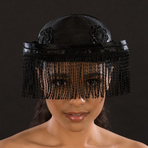 BW9034-Black fringed veil dress hat for women - SHENOR COLLECTIONS