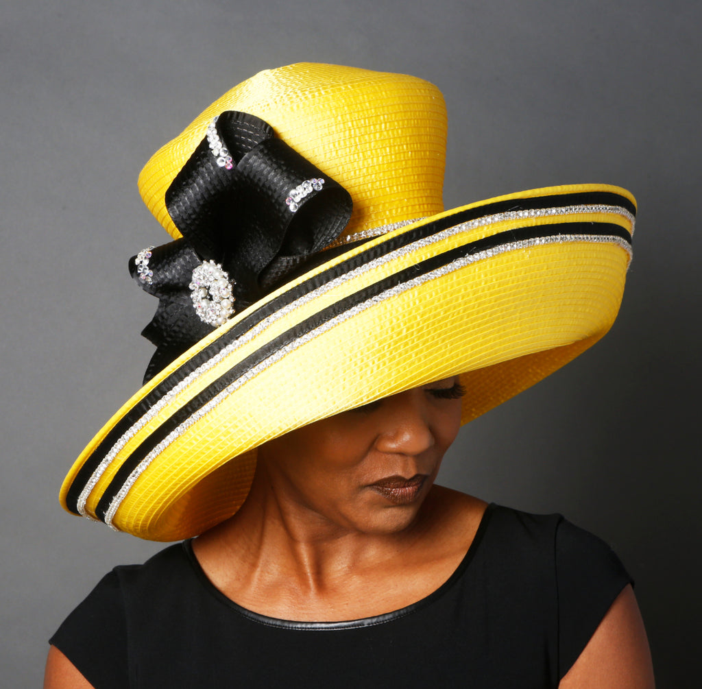 OE0022-Yellow satin ribbon church hat
