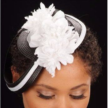 F6004-Black/White cocktail hat With Flower - SHENOR COLLECTIONS