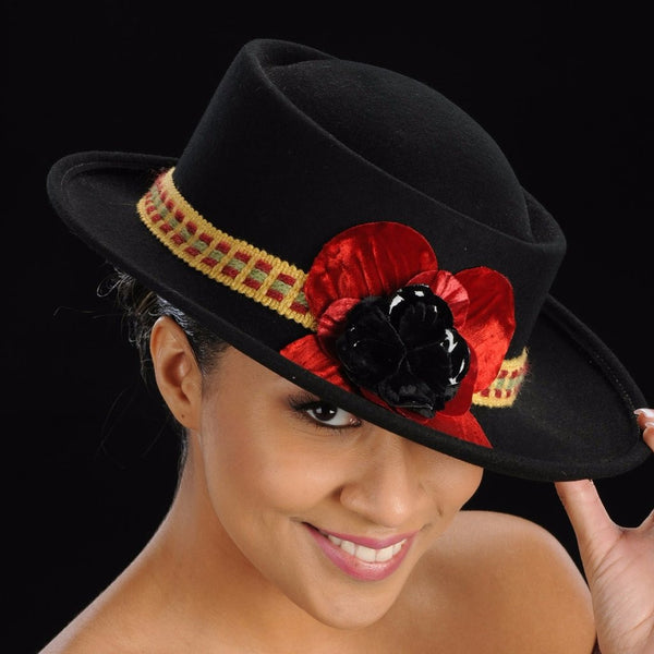 red velvet flower wool felt hats in black