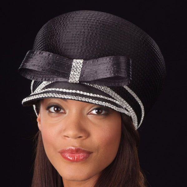 BW-9039 Black satin ladies dress cap with rhinestones