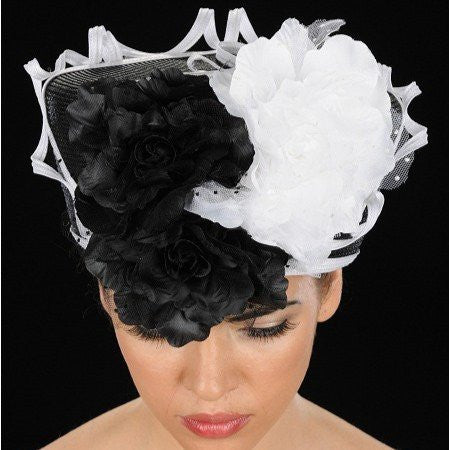 white and black Ladies flower church hats