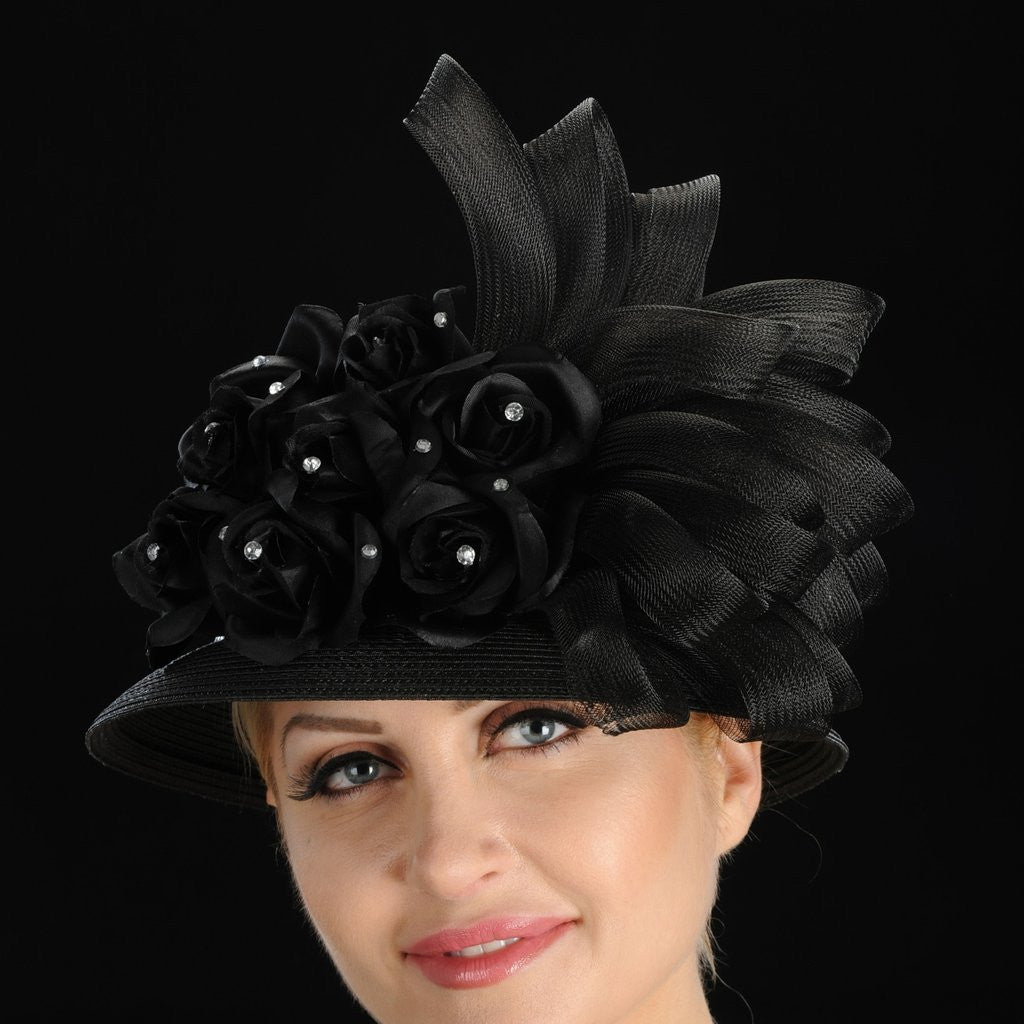 BW9006- Ladies Black dress hat with satin flowers/horsehair and rhinestones