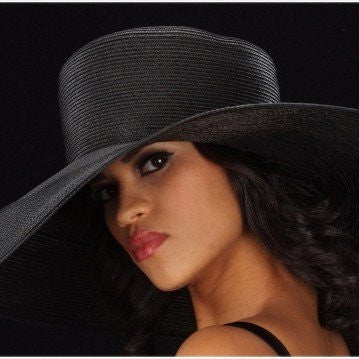 SS1002-Extra wide brim black straw - SHENOR COLLECTIONS