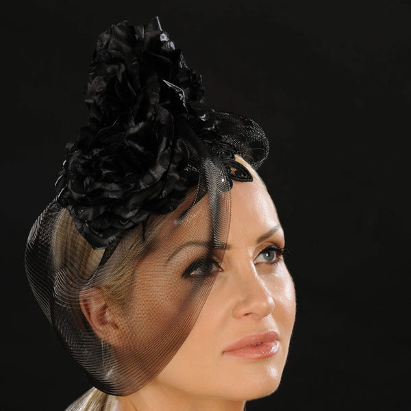 F3006- Black fascinator with satin flower - SHENOR COLLECTIONS