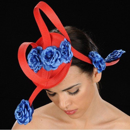F6014-Ascot red straw with royal blue satin flowers - SHENOR COLLECTIONS