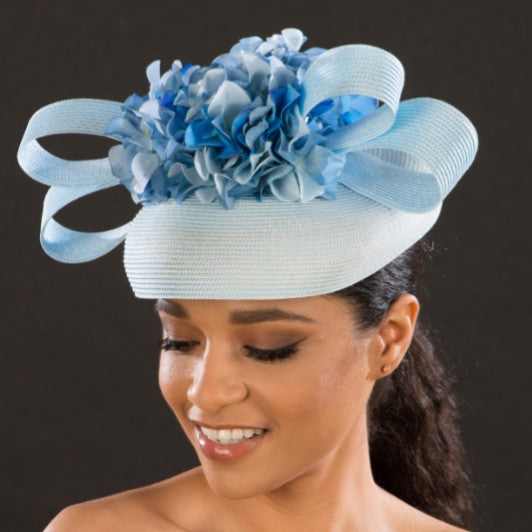 NA1070-Ladies wedding fascinator hat in blue - SHENOR COLLECTIONS