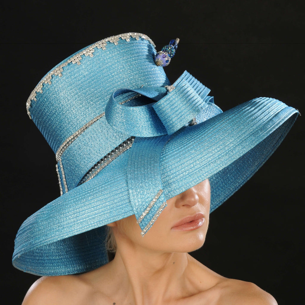 OE015- Blue ladies satin dress hat - SHENOR COLLECTIONS