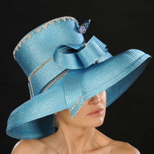OE015- Blue ladies satin dress hat