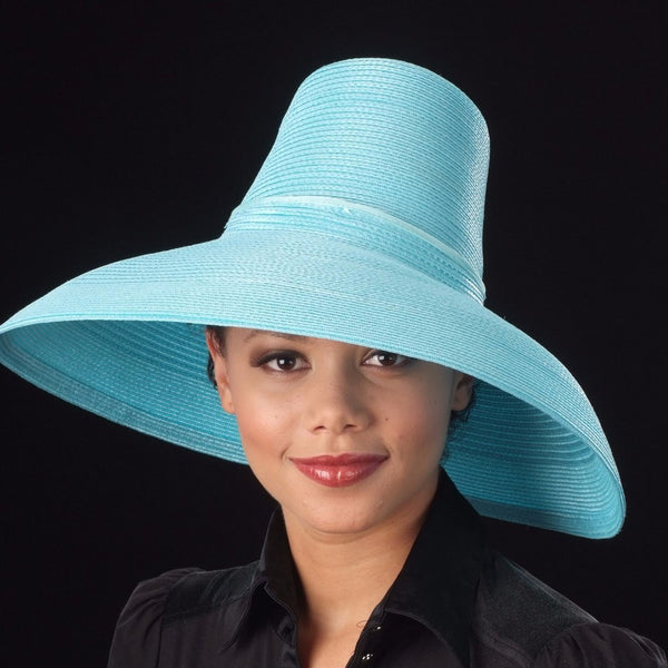 AC7031- Wide brim blue straw ladies hat - SHENOR COLLECTIONS