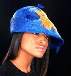 AC46122 Blue straw dress hat - SHENOR COLLECTIONS