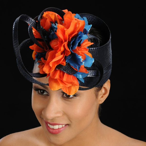 millinery fascinator hats with blue and orange flowers