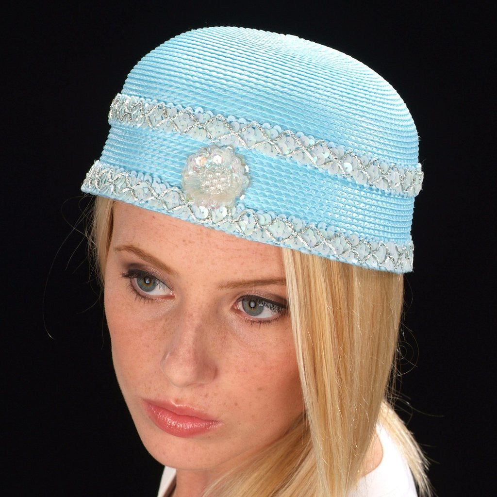 F6026 Baby blue ladies hat with sequins trim - SHENOR COLLECTIONS