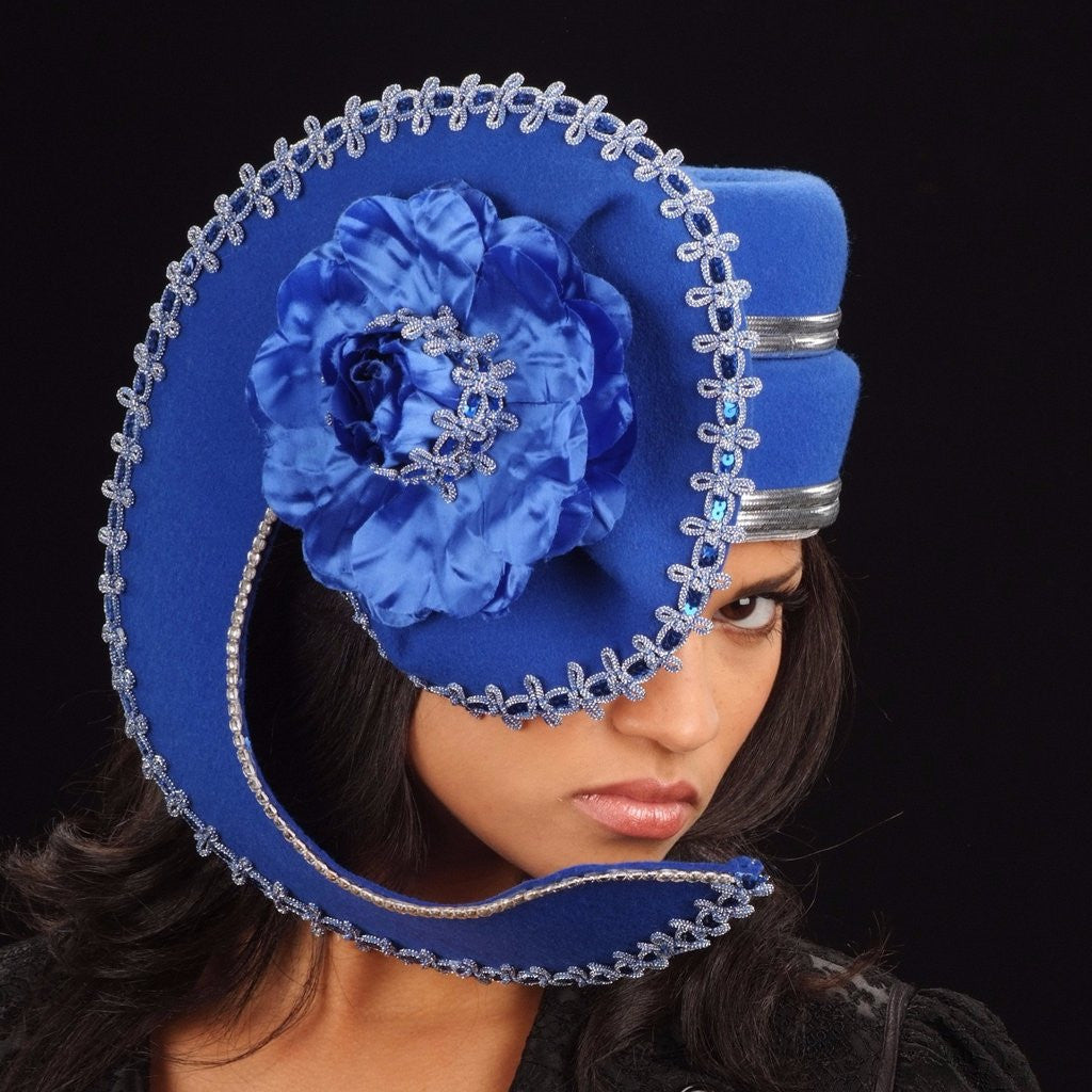 FW1136-Blue felt winter hat with silver and blue trim and large satin flower