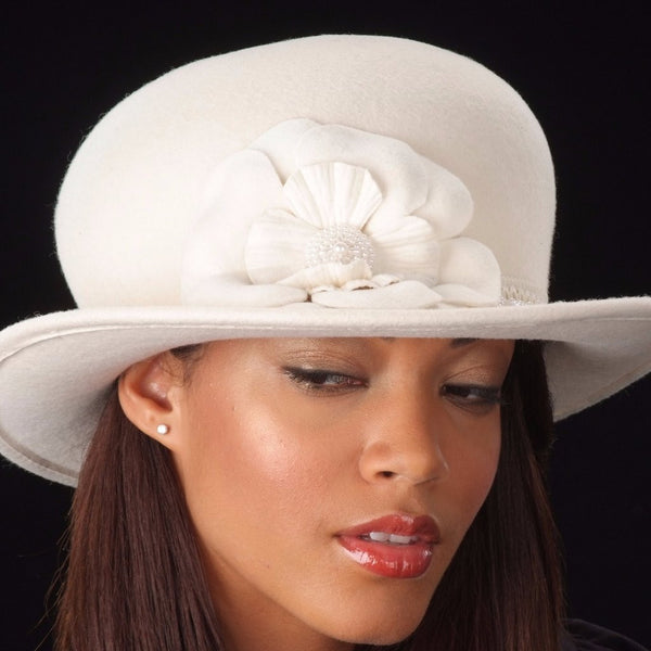 FW1135-Cream bowler felt ladies hat with pearl trim and flower - SHENOR COLLECTIONS