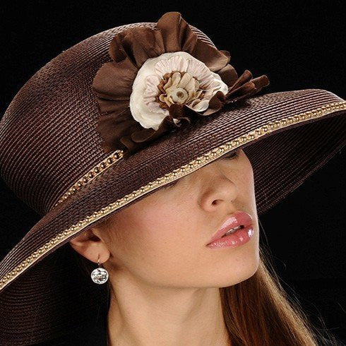 women's Gold trimmed brown straw with brown/cream flower for women